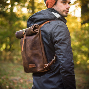 Maker Matthew Nesbitt wearing his handmade backpack