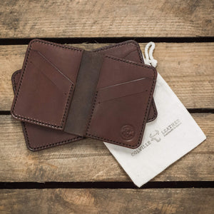 two hand made leather wallets, made in Devon