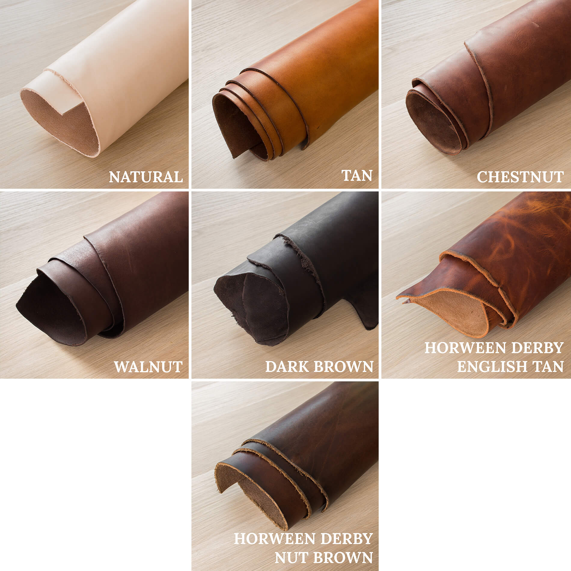 Colour options for Colville Leather products