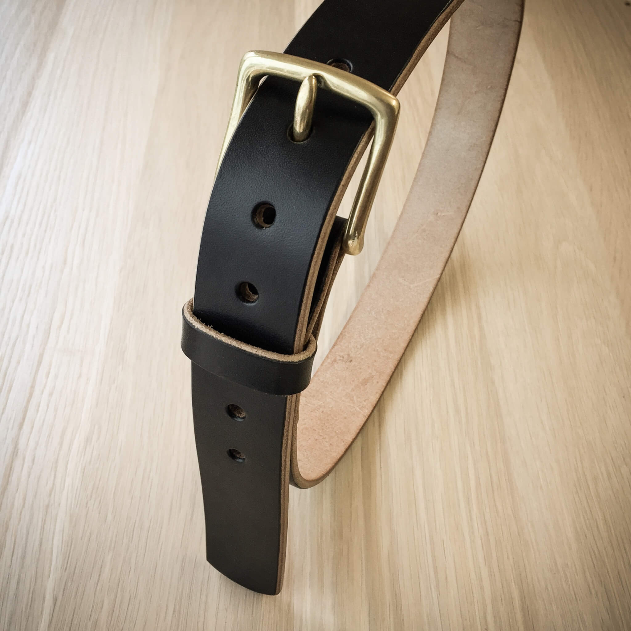 Black leather belt, handmade in Devon