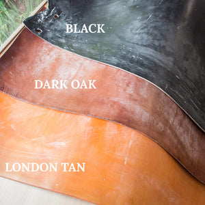 Oak bark tanned leather, London Tan, Dark Oak and Black