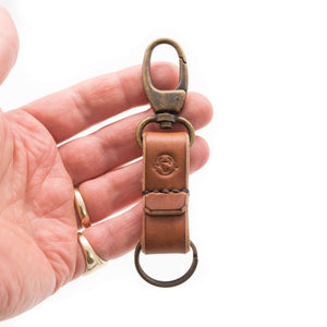 Devon tanned oak bark leather keychains. Handmade in Brown