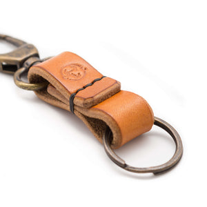 Devon tanned oak bark leather keychains. Handmade in Tan
