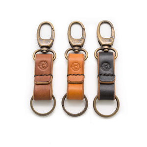 Devon tanned oak bark leather keychains. Three colours, brown, tan and black