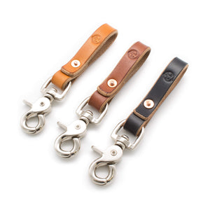 Oak Bark tanned keychain, keyring. Colours are tan, brown and black