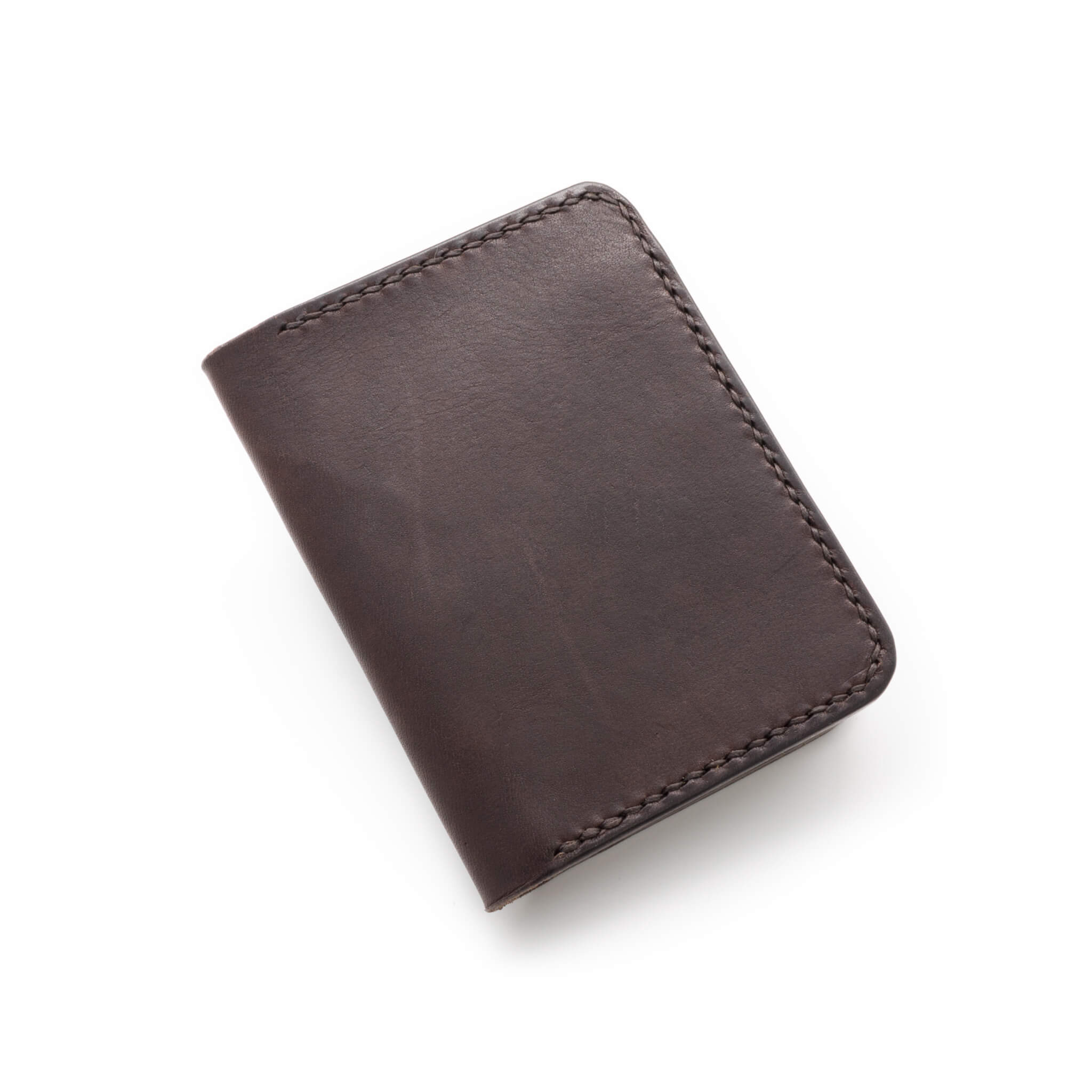 Hand made leather bifold wallet in Dark Brown