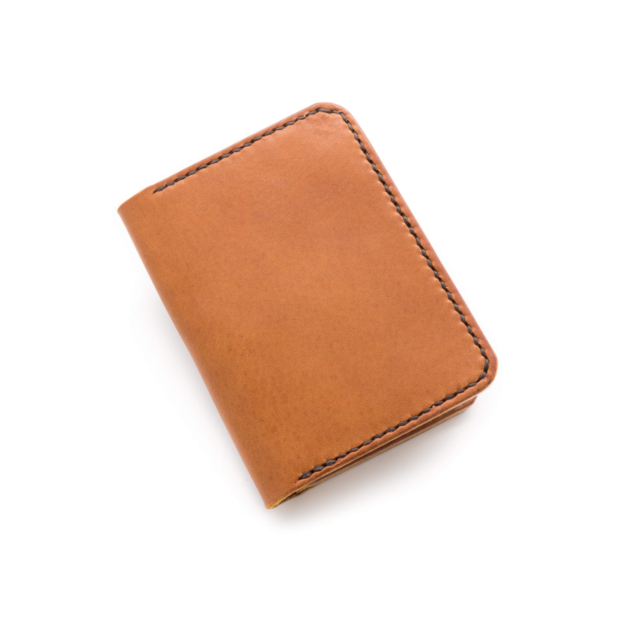 Hand made leather bifold wallet in Tan