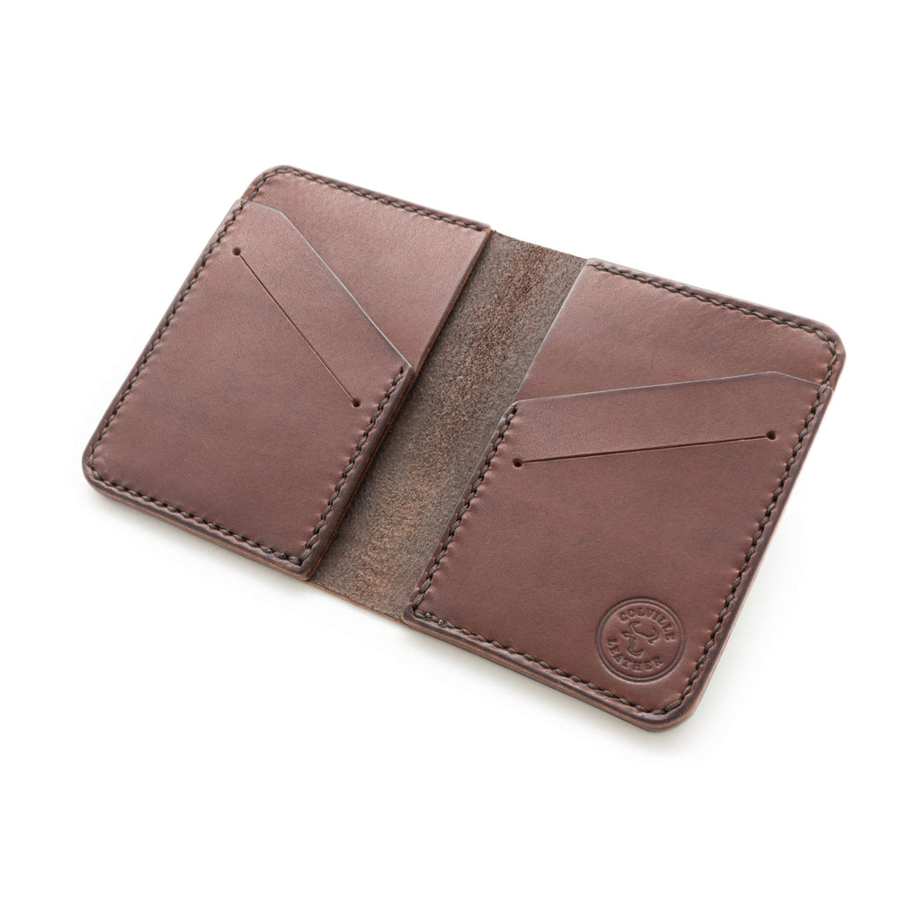 Leather wallet in a dark brown with white background