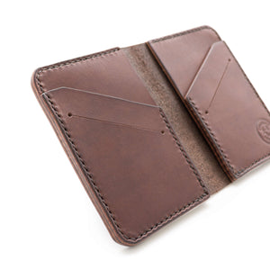 Details of a handmade bifold leather wallet