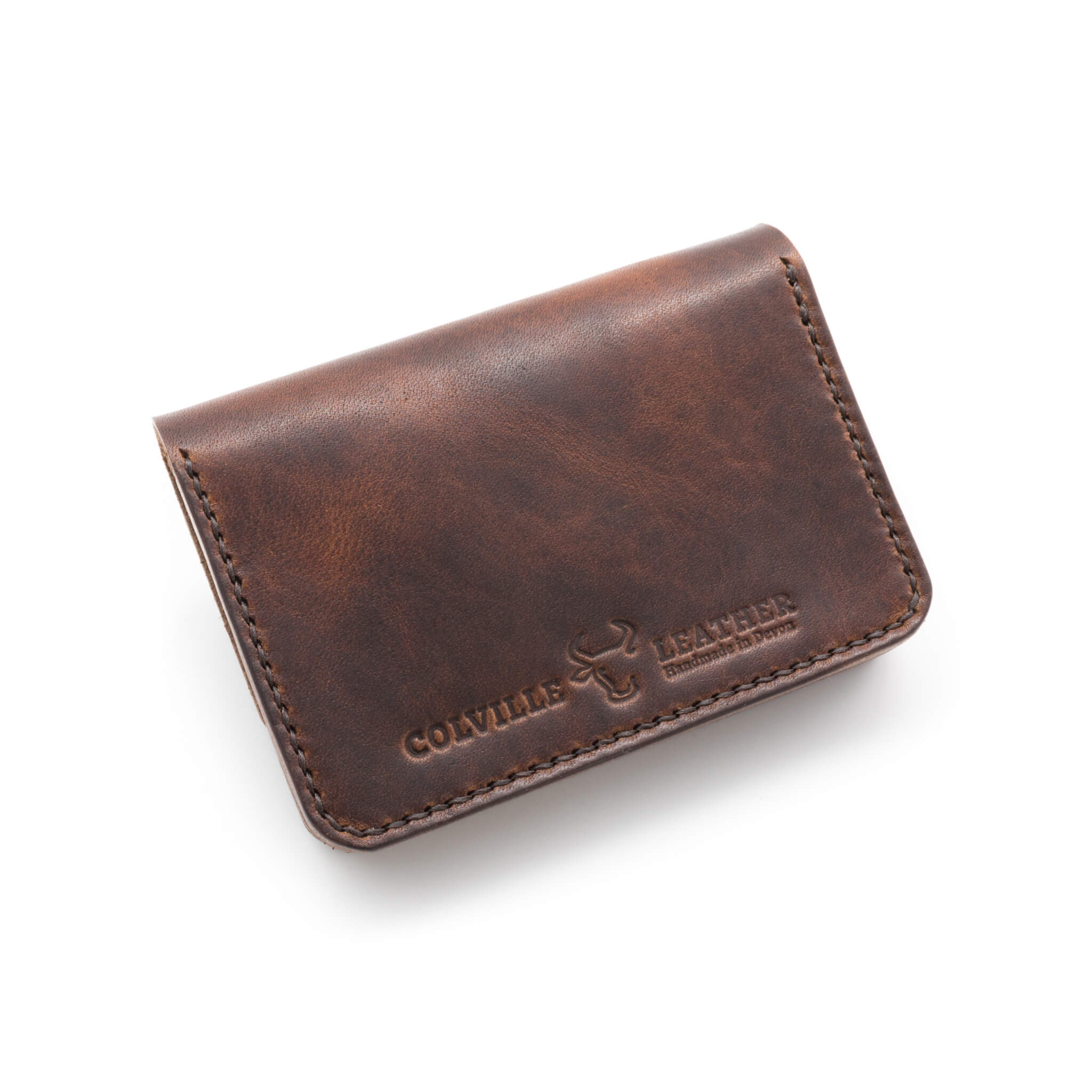 Makers mark on the back of leather biker wallet