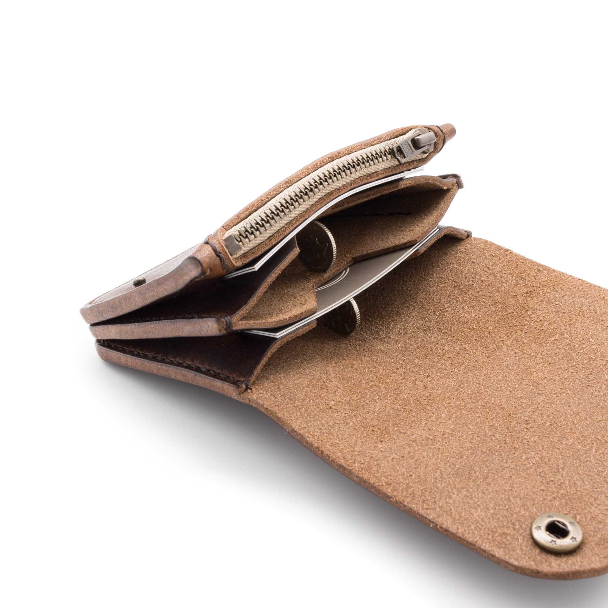 Inside leather wallet, zip coin pocket and card slots