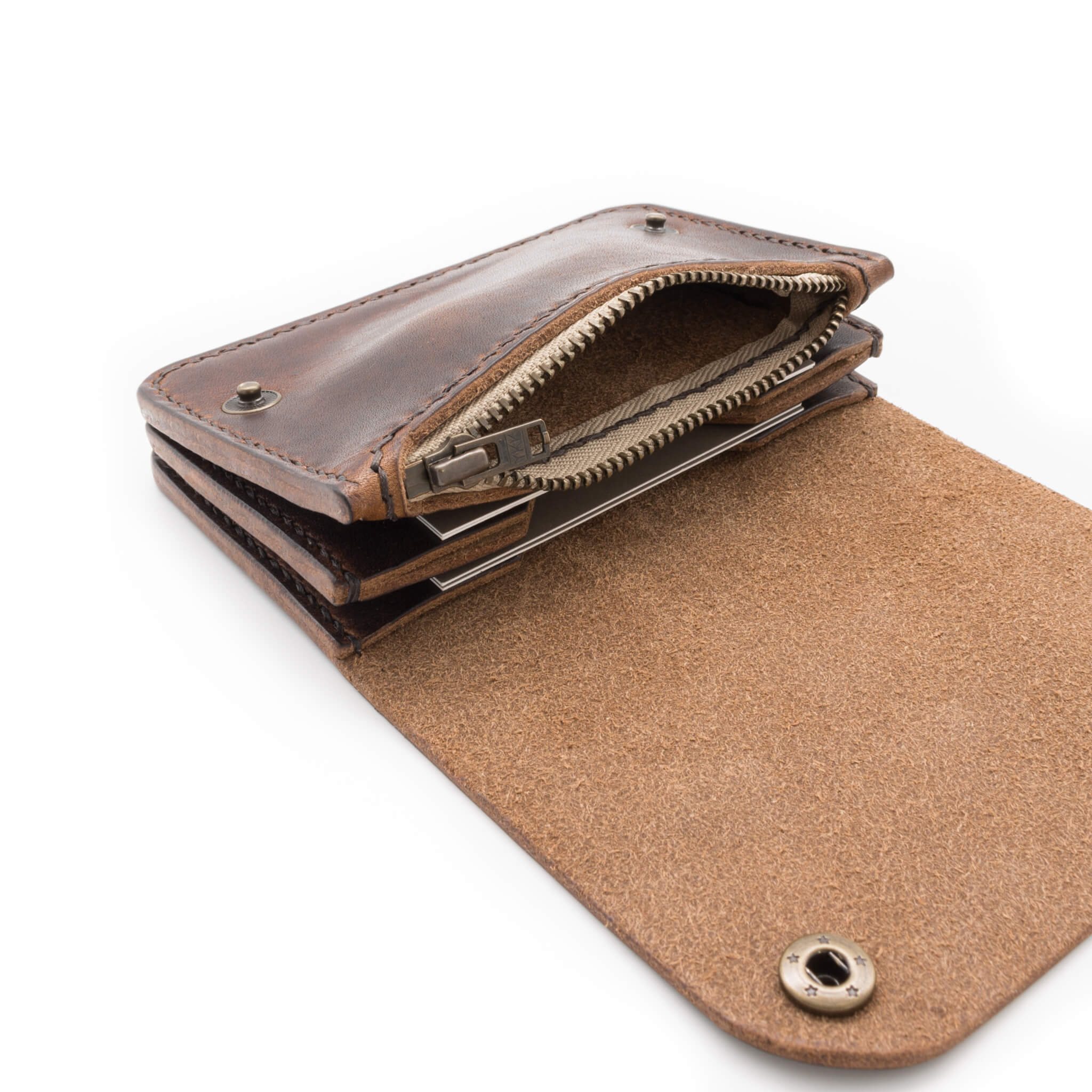 YKK brass zipper, handmade leather wallet, Horween Derby leather