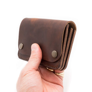 Details of leather biker wallet