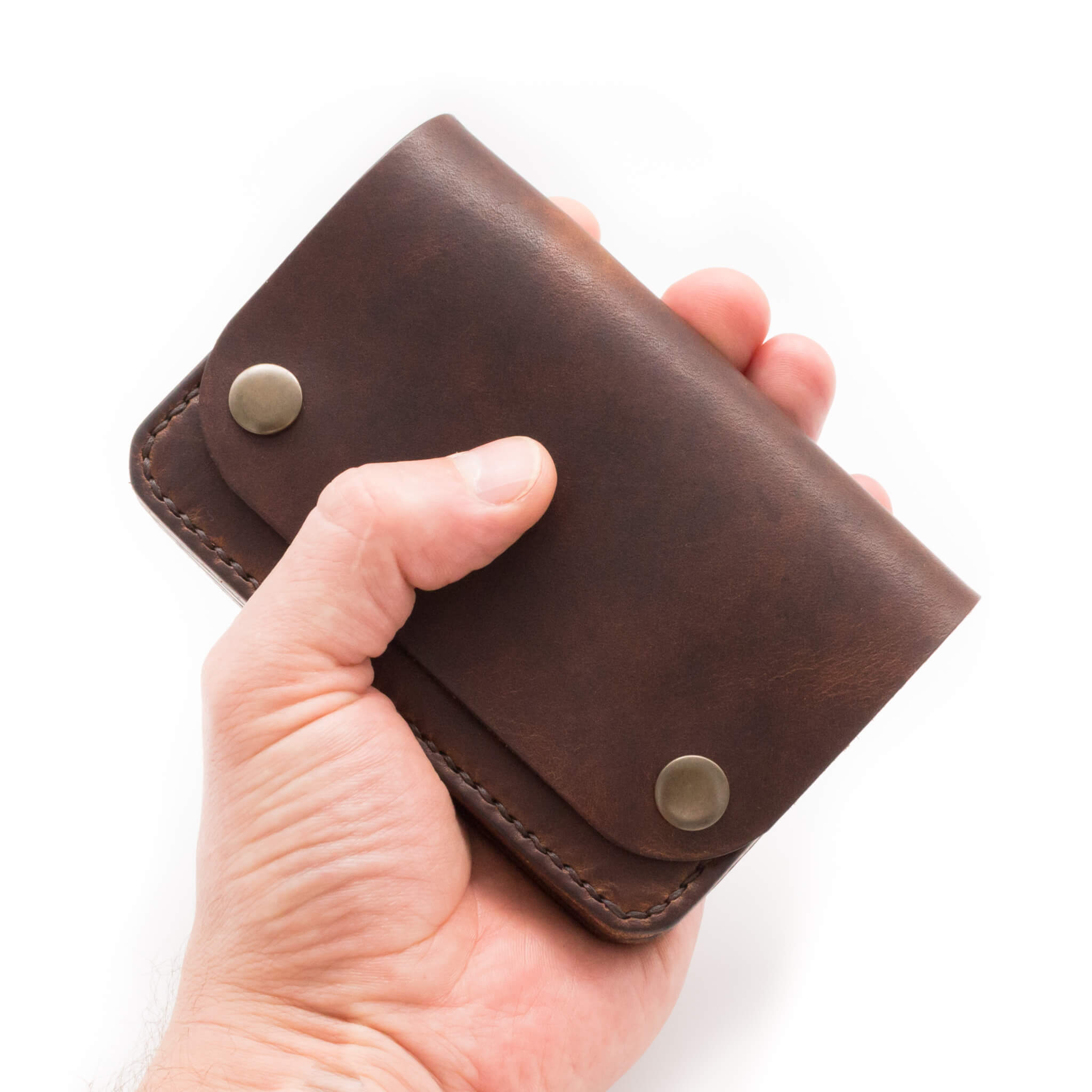 Handmade leather wallet in Horween Derby leather