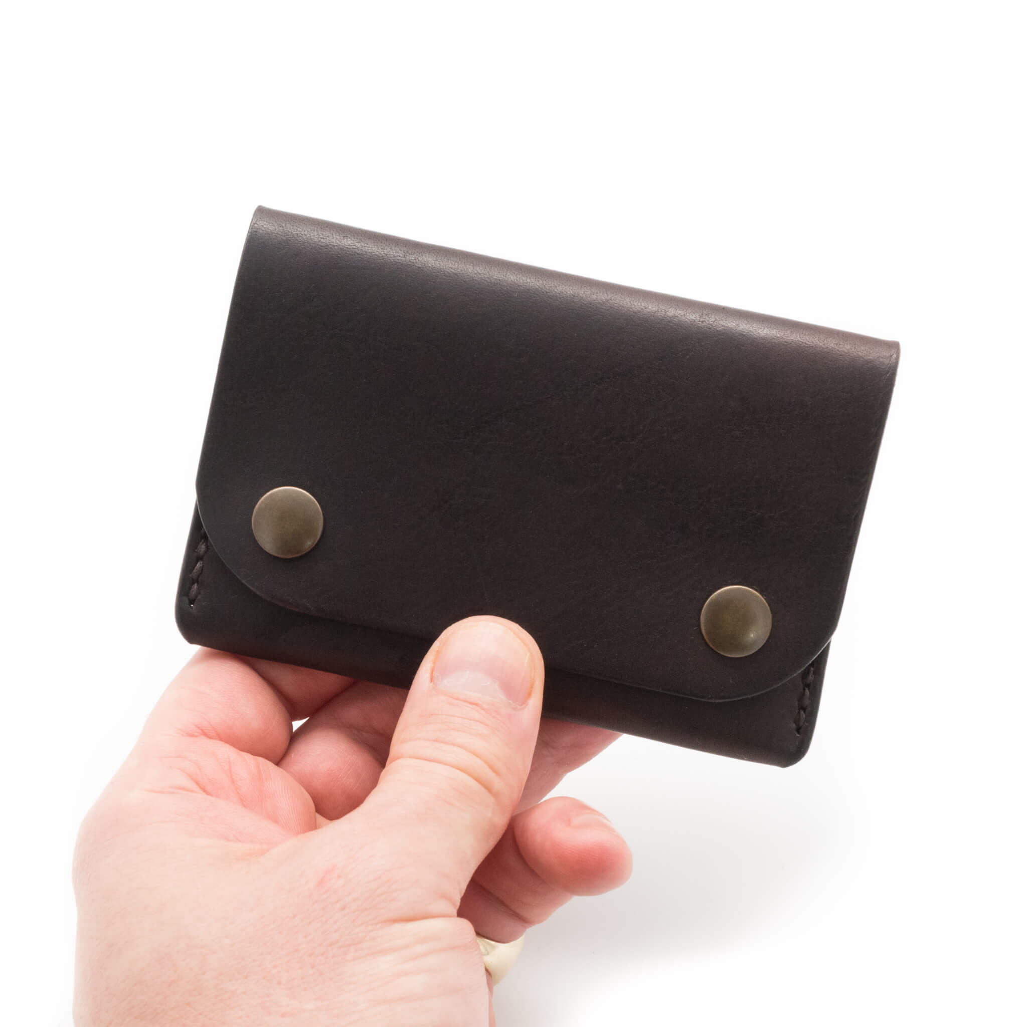 Handmade leather wallet in dark brown leather