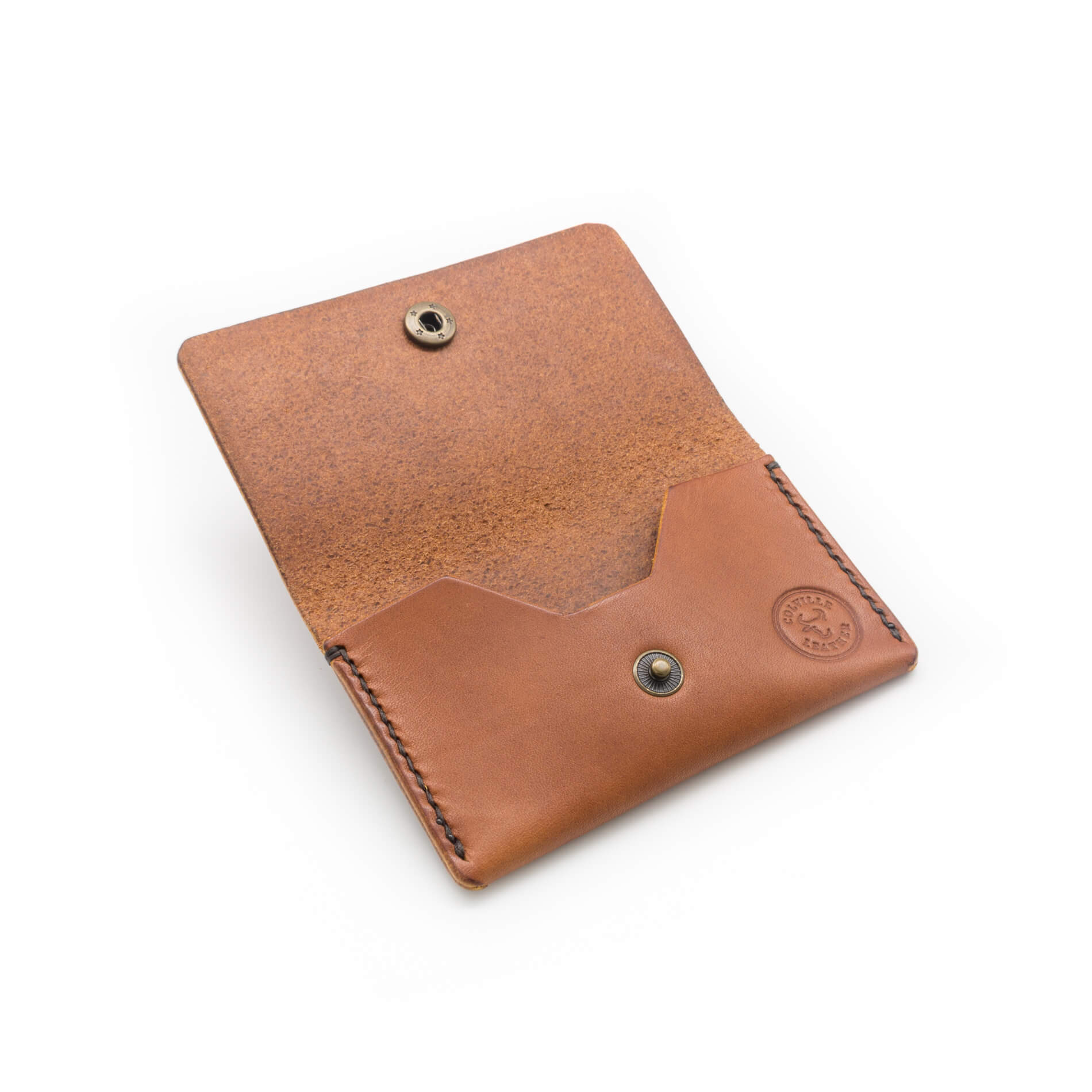 Card pouch handmade in Tan coloured leather