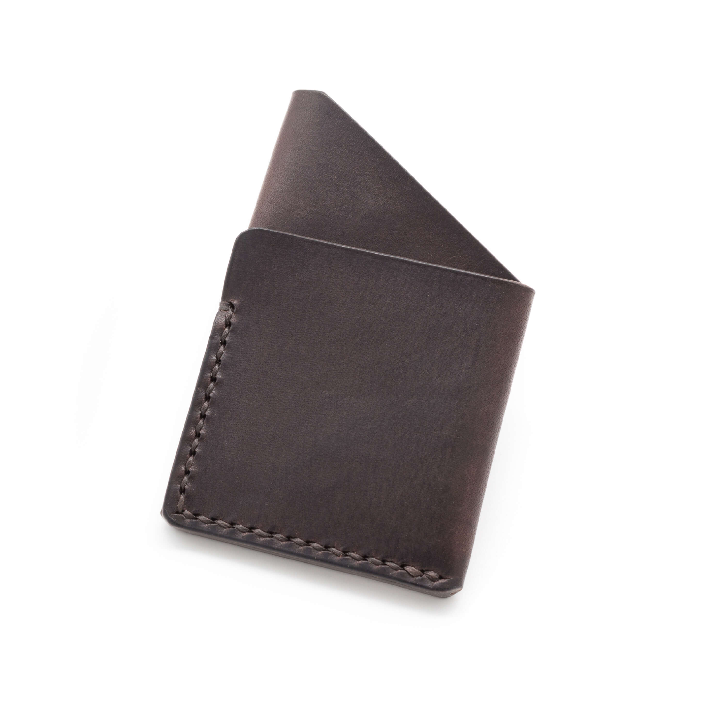 Leather card holder in Dark Brown Leather handmade by Colville Leather