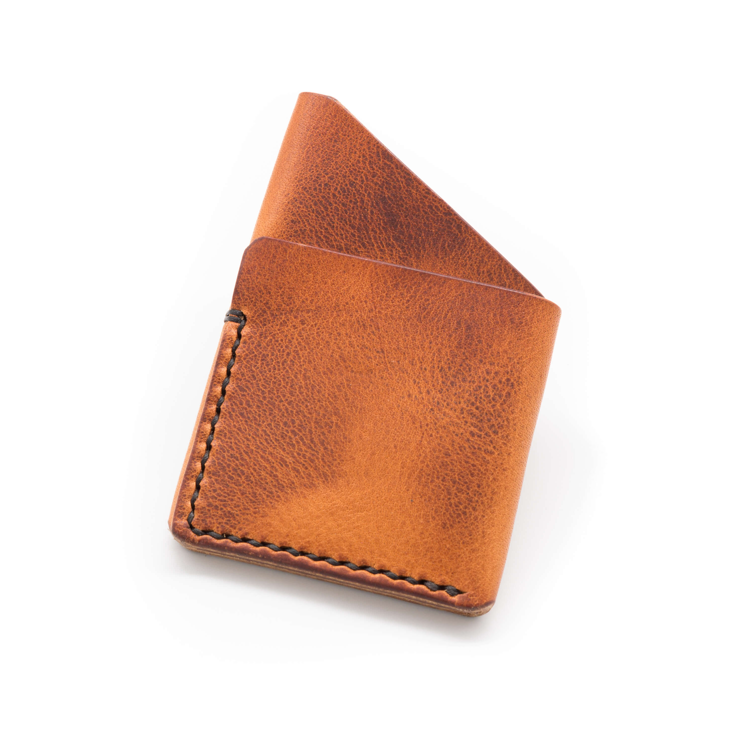 Horween English Tan leather, handmade card holder