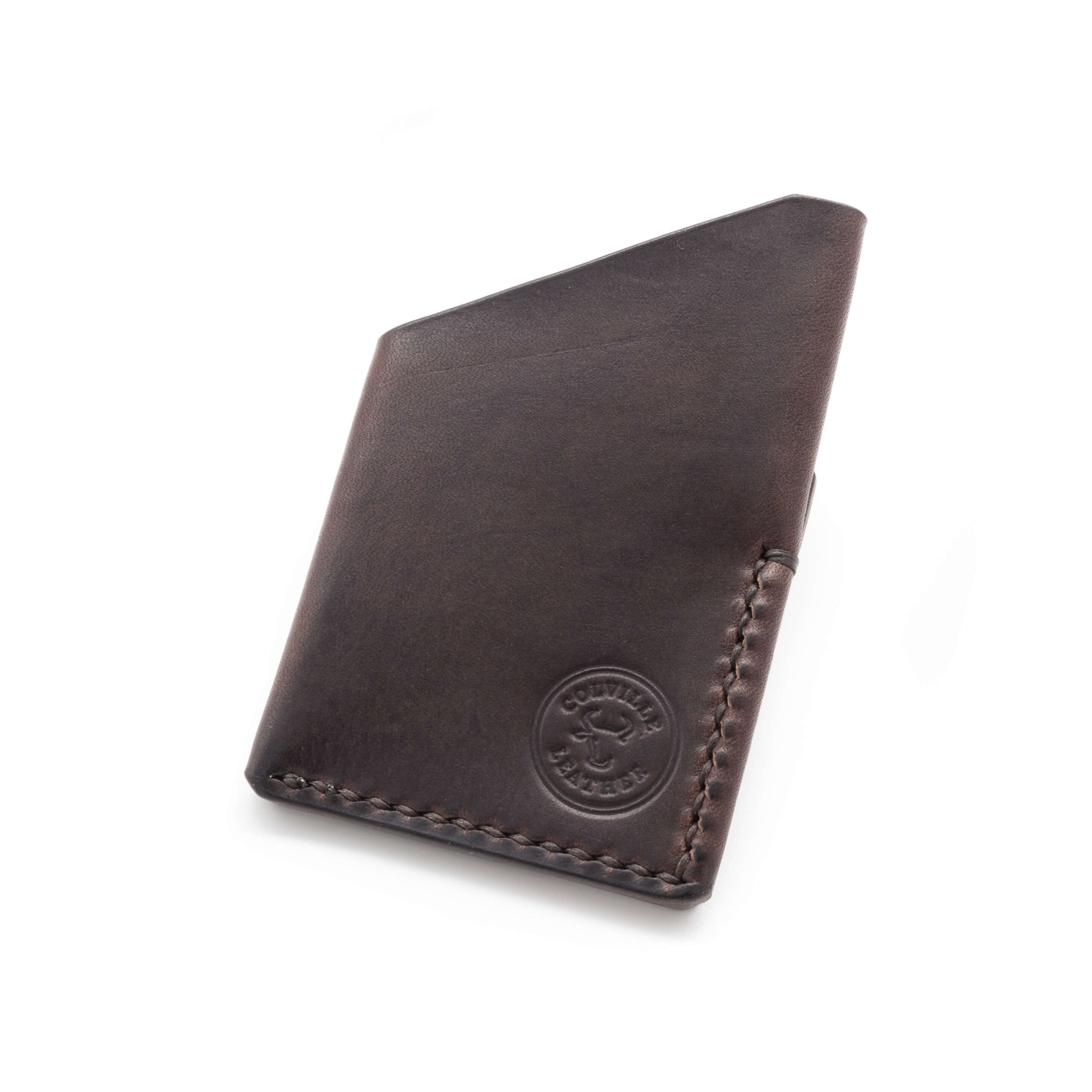 markers mark on a handmade leather wallet