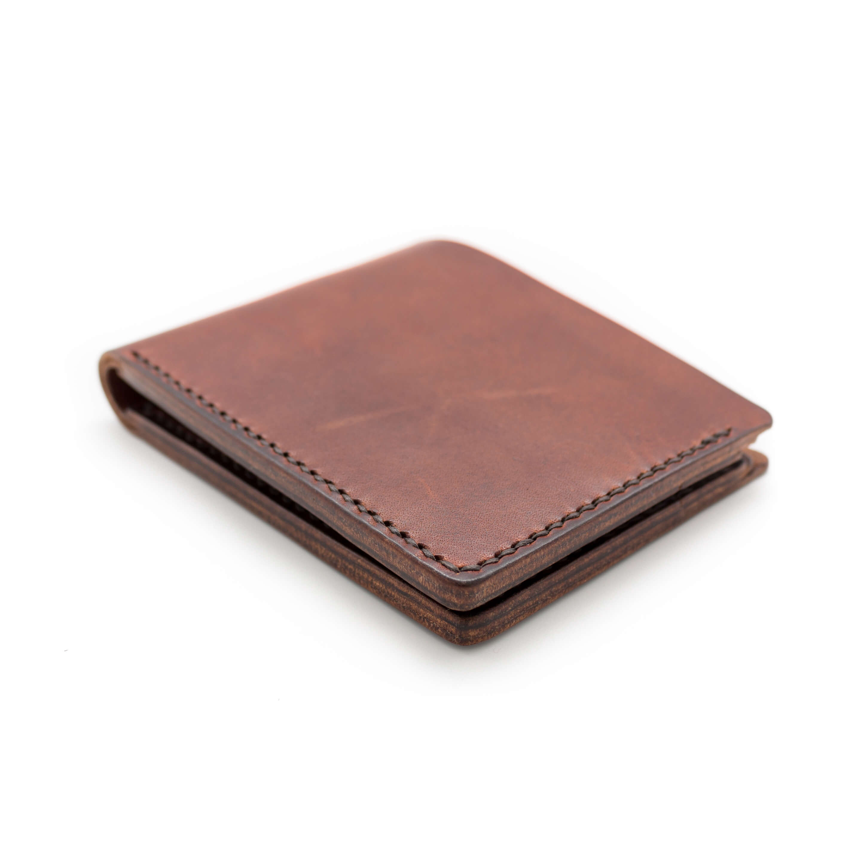 Hand stitched leather bifold wallet