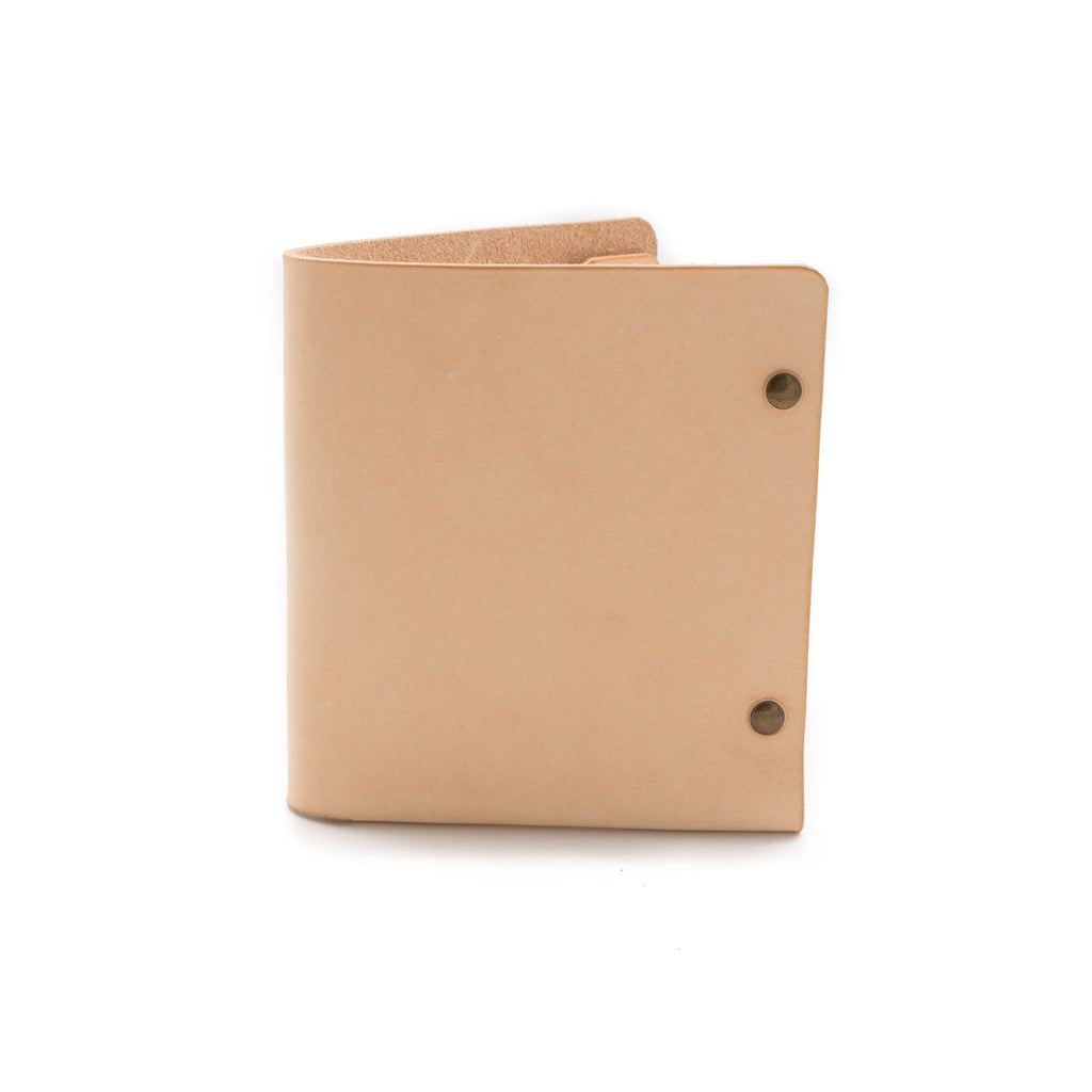 leather bifold wallet in natural leather