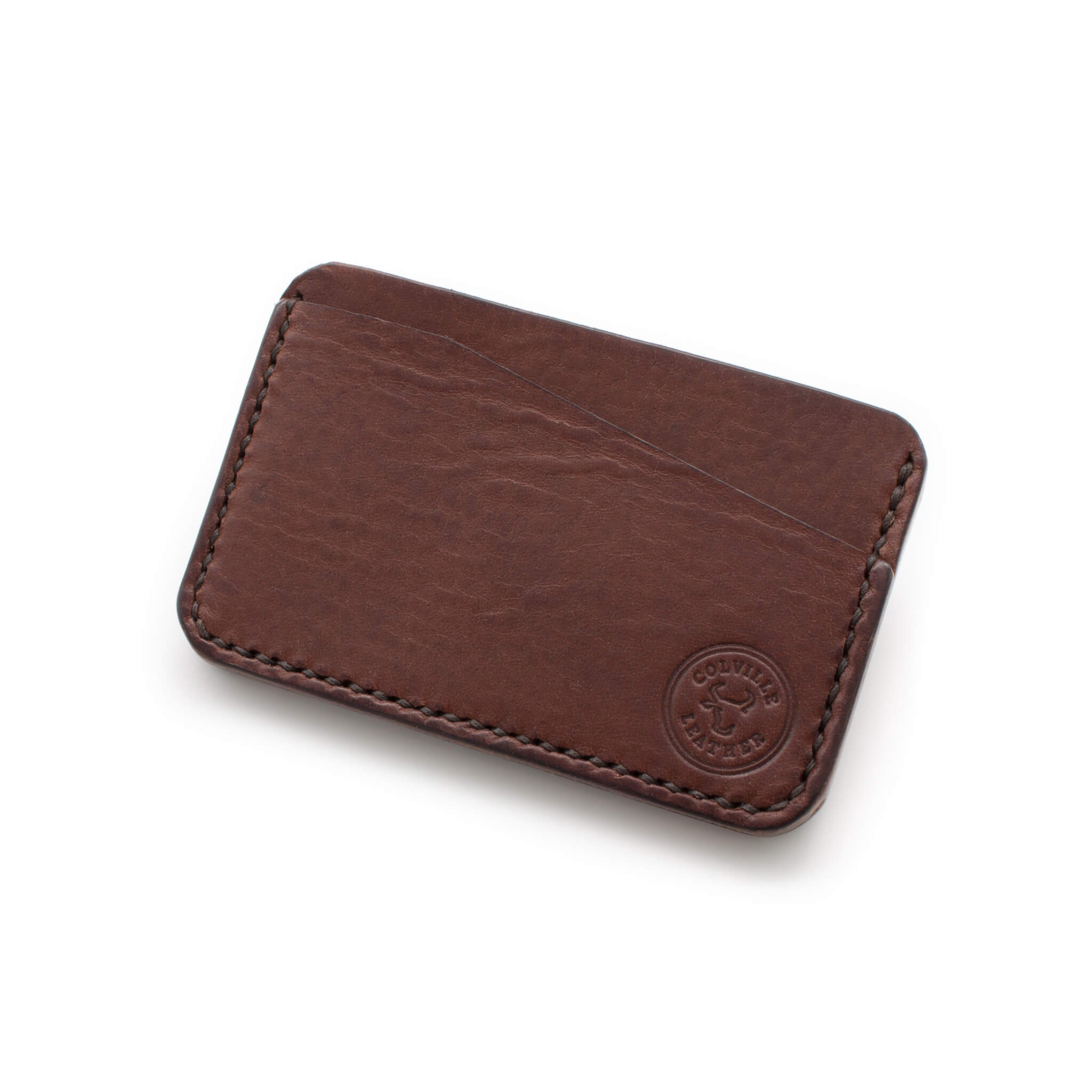 Hand stitched leather card holder, made in Devon