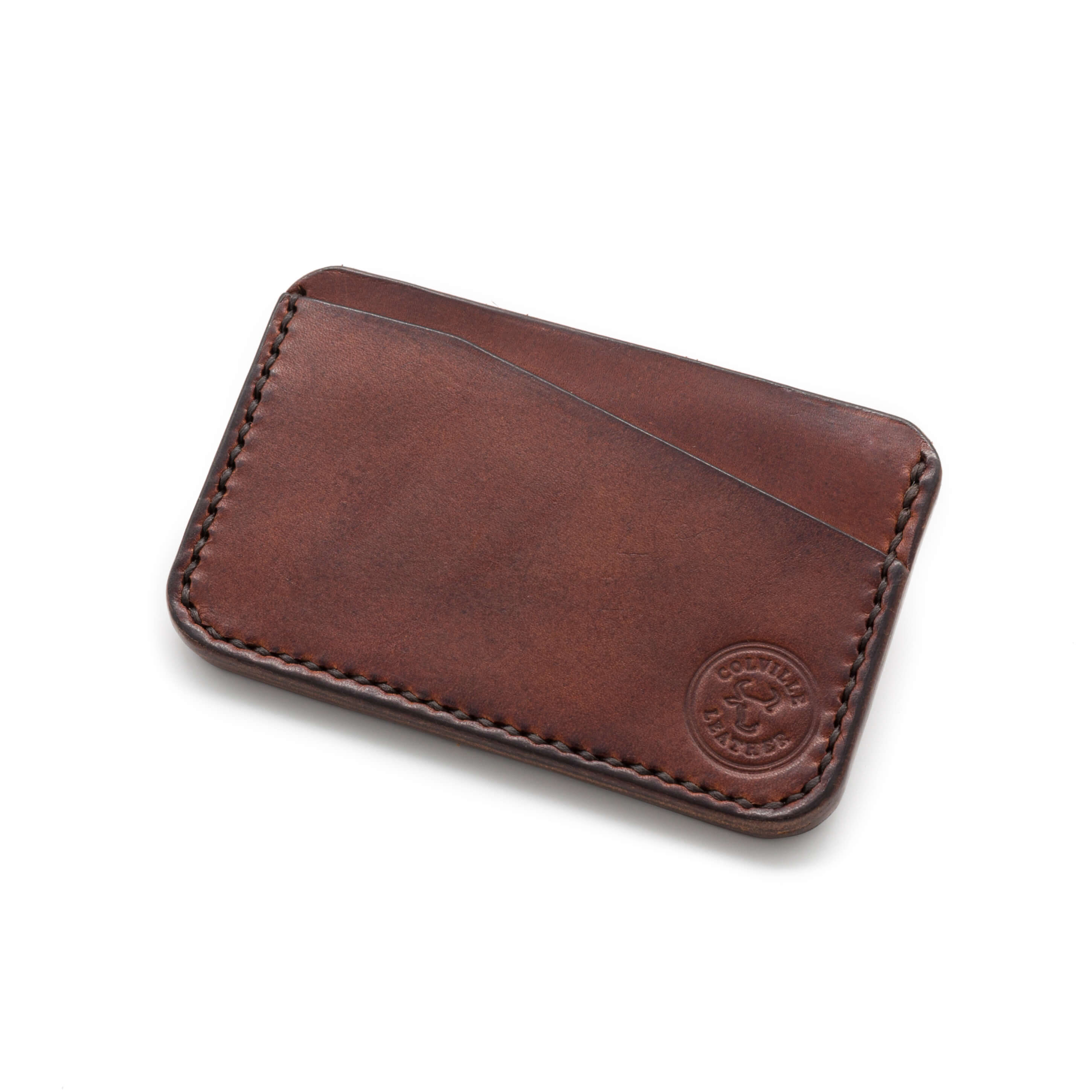 Handmade card wallet in Chestnut