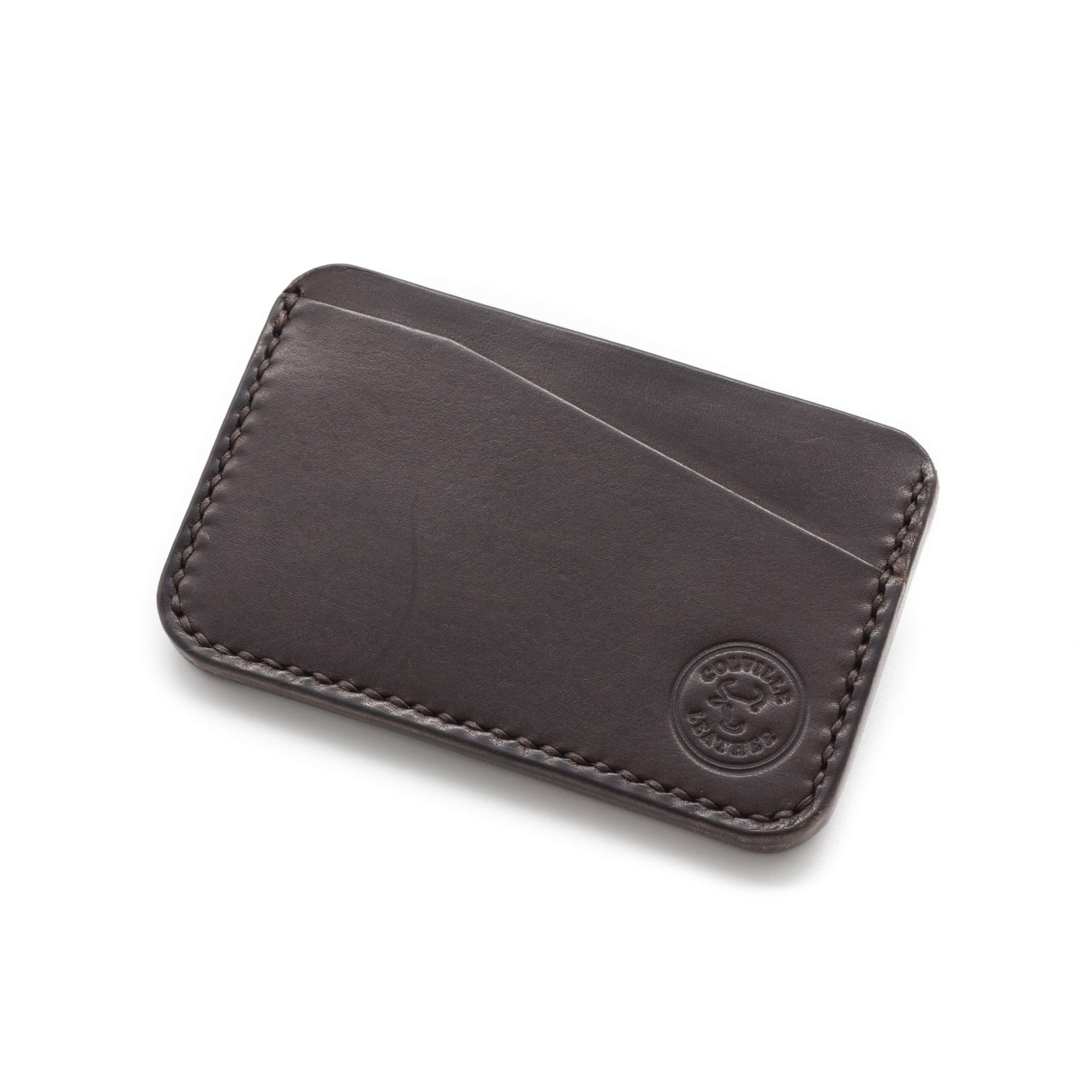 Front pocket leather card wallet, Dark Brown