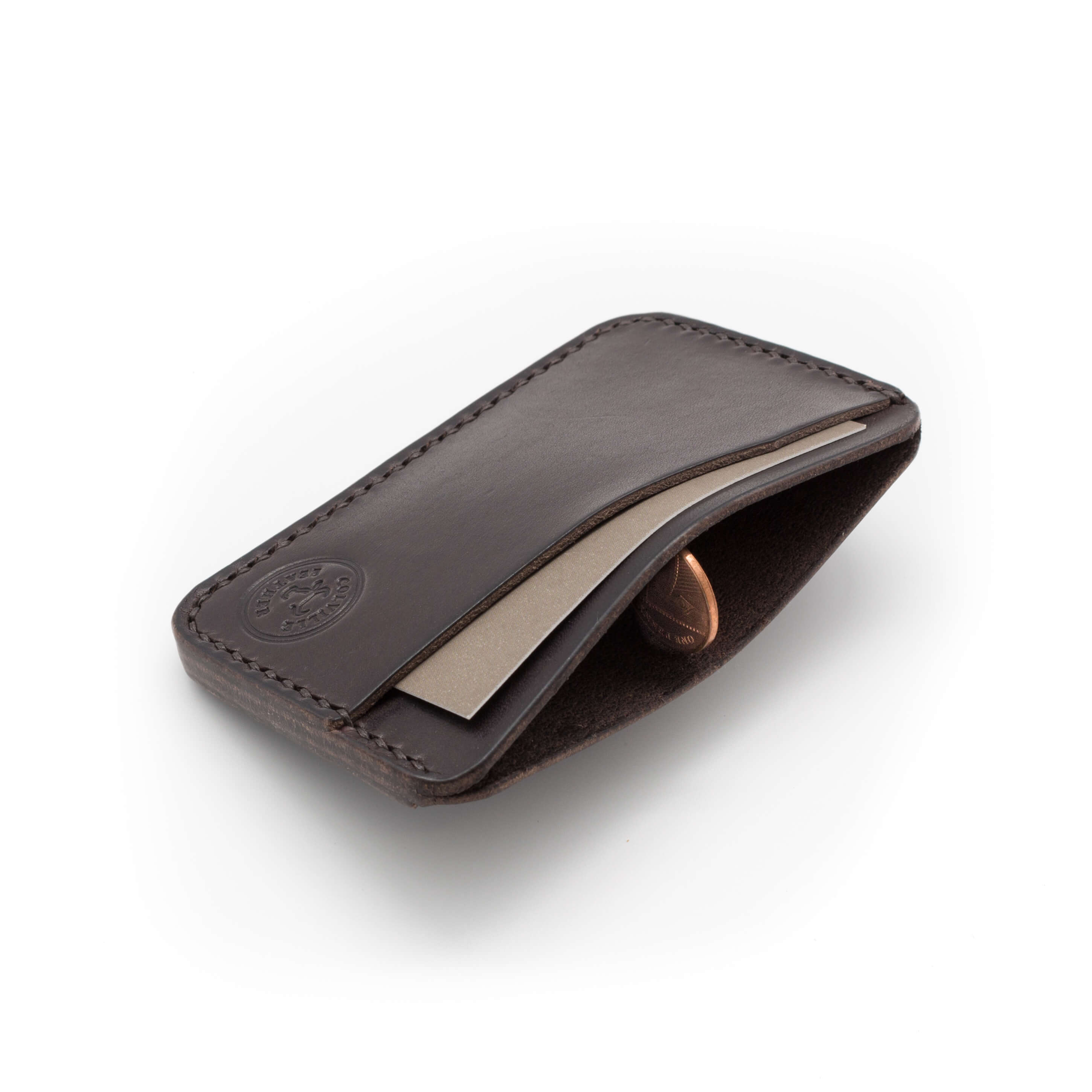 Three pocket leather card holder, Dark Brown
