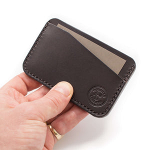 Hand holding leather card wallet, Oyster card wallet