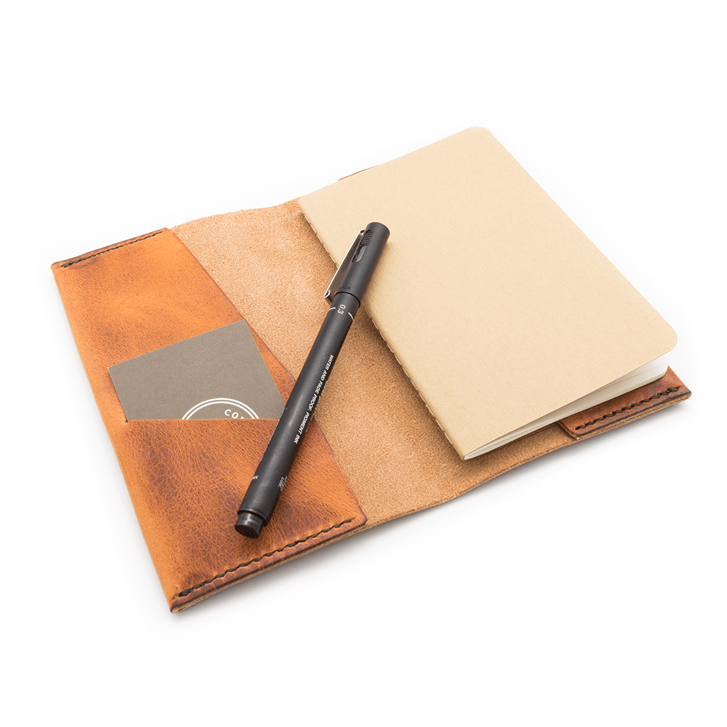 Leather notebook cover carrying Moleskine notebook