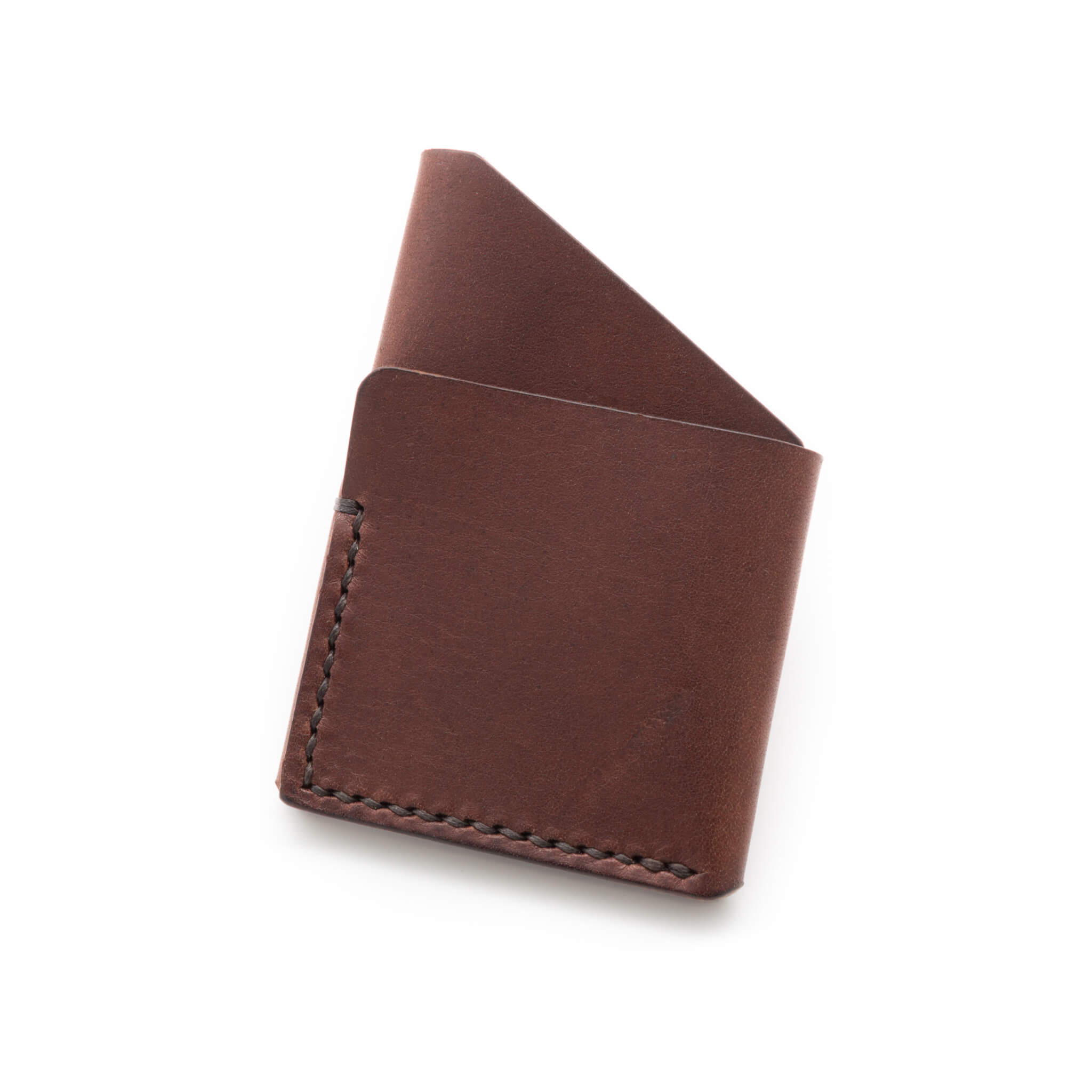 Leather card holder in Walnut Brown Leather handmade by Colville Leather