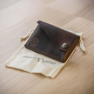 Leather wallet with cotton presentation bag
