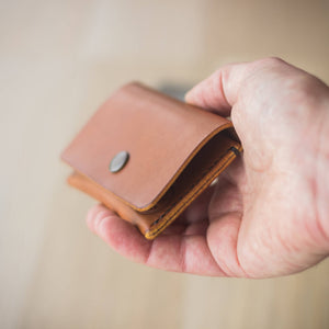 side details, hand burnished leather wallet