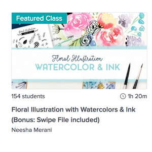 Floral Illustration with Watercolor & Ink (New Class + Free Bonus!)