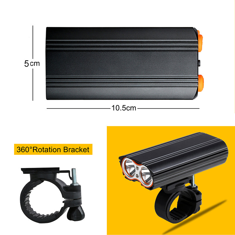 1200LM 150° Large Floodlight 6000mAh Battery 4 Modes USB Rechargeable Bicycle Headlight