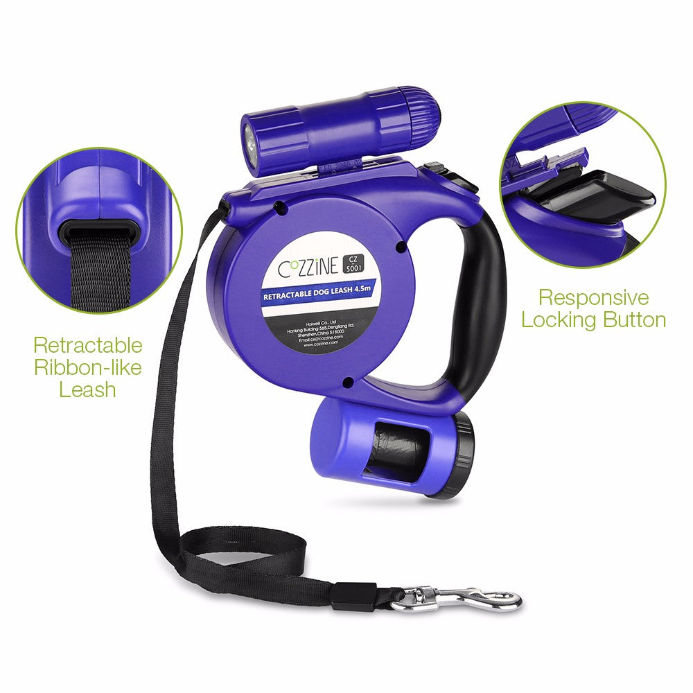 3 In 1 Retractable Dog Leash 15ft - JustgreenBox