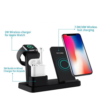 3 In 1 Charging Dock Station Bracket Cradle Stand Phone Holder For Apple Watch Charger IPhone XR X 8 7 6 Wireless QI - JustgreenBox