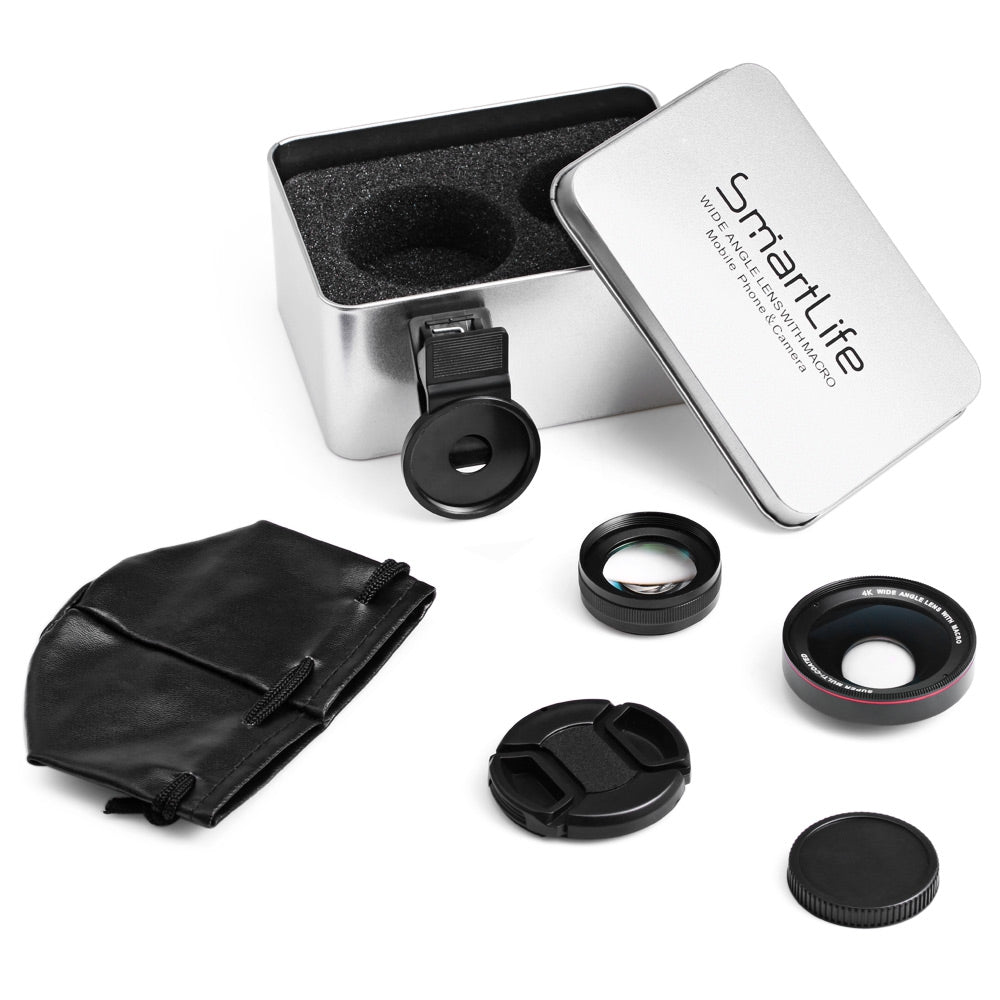 2 in 1 High Definition 4K Wide Angle Single Lens Macro for Camera BLACK - JustgreenBox