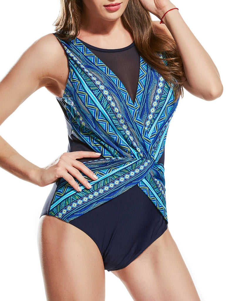 Mesh Insert Surplice Printed Swimsuit - JustgreenBox