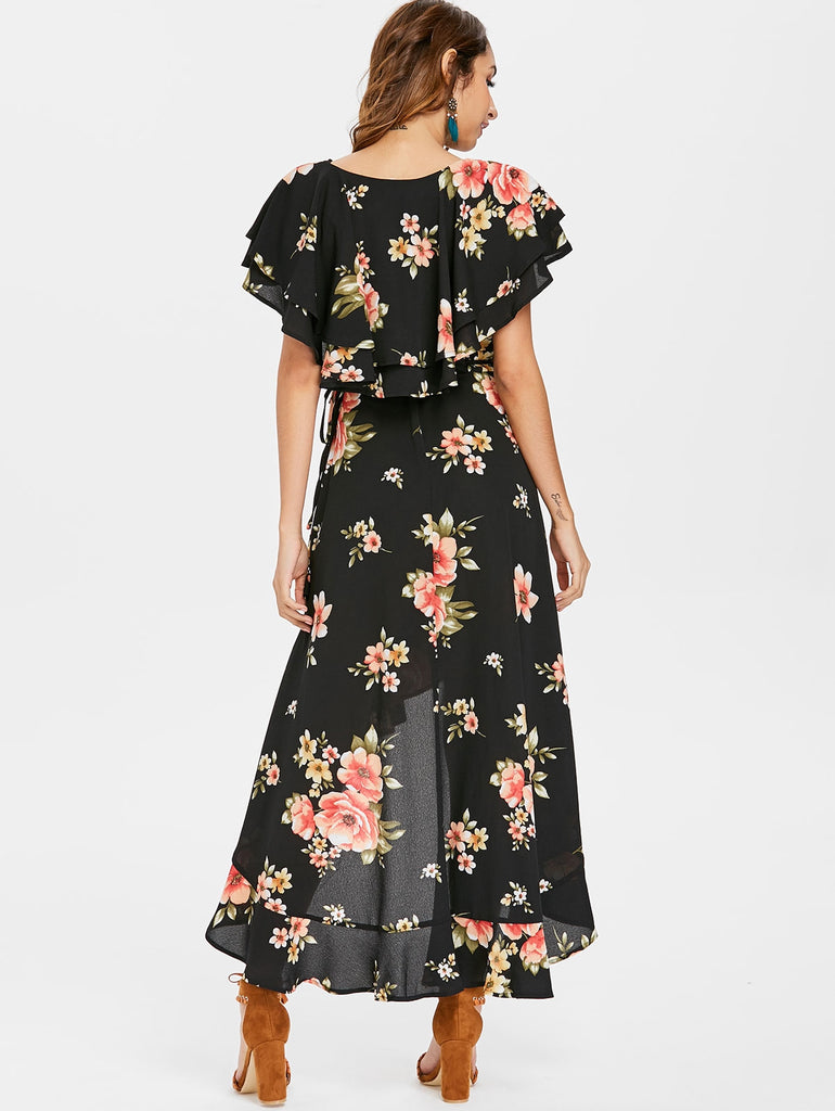 Bohemian Ruffled High Low Maxi Dress Black M - JustgreenBox