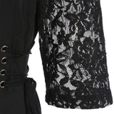 Lace Panel Ruched Bust Little Black Dress - JustgreenBox
