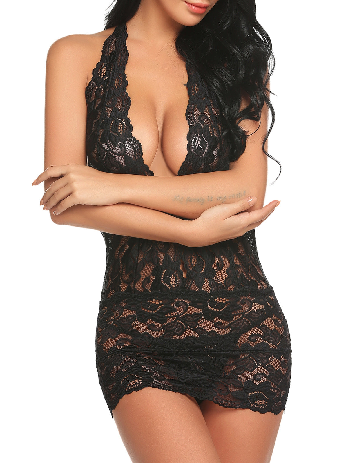 Sexy Halter Backless Plunge Lace Babydoll