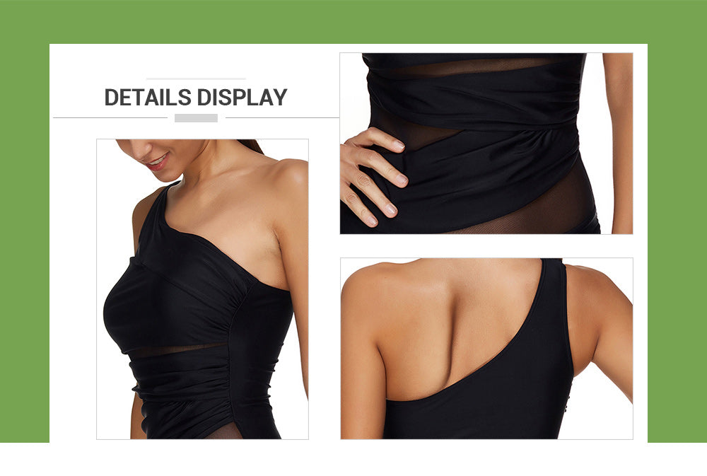 Mesh Panel One Shoulder Padded Swimsuit - JustgreenBox
