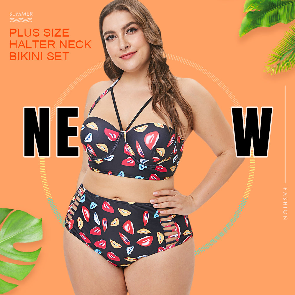 Plus Size Halter Neck Lip Print Bikini Set - JustgreenBox