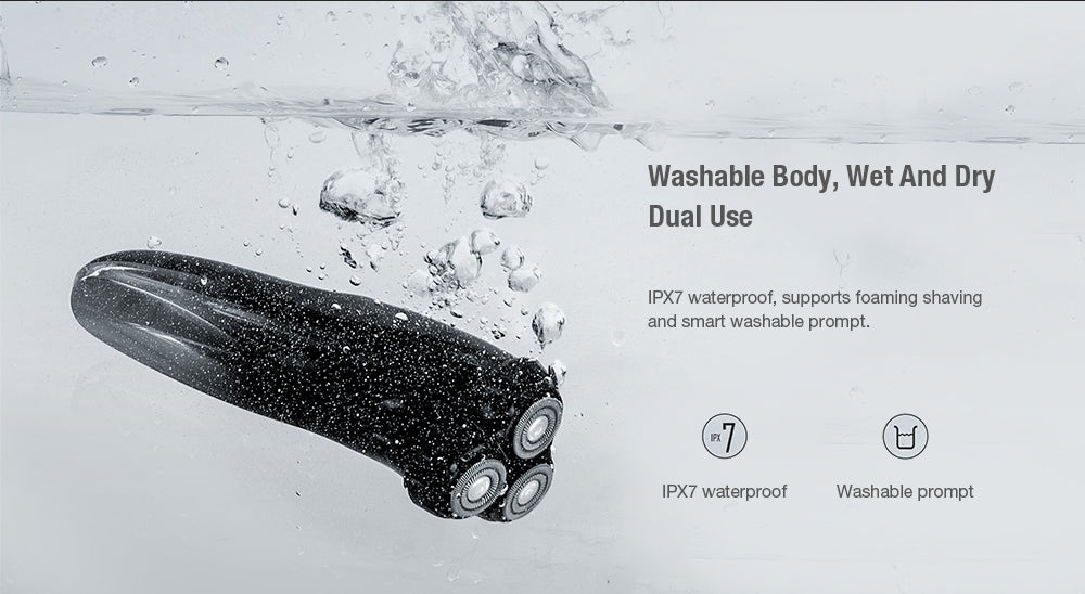 USB Charging LCD Waterproof Wet And Dry Dual Use Electric Shaver (Black) - JustgreenBox
