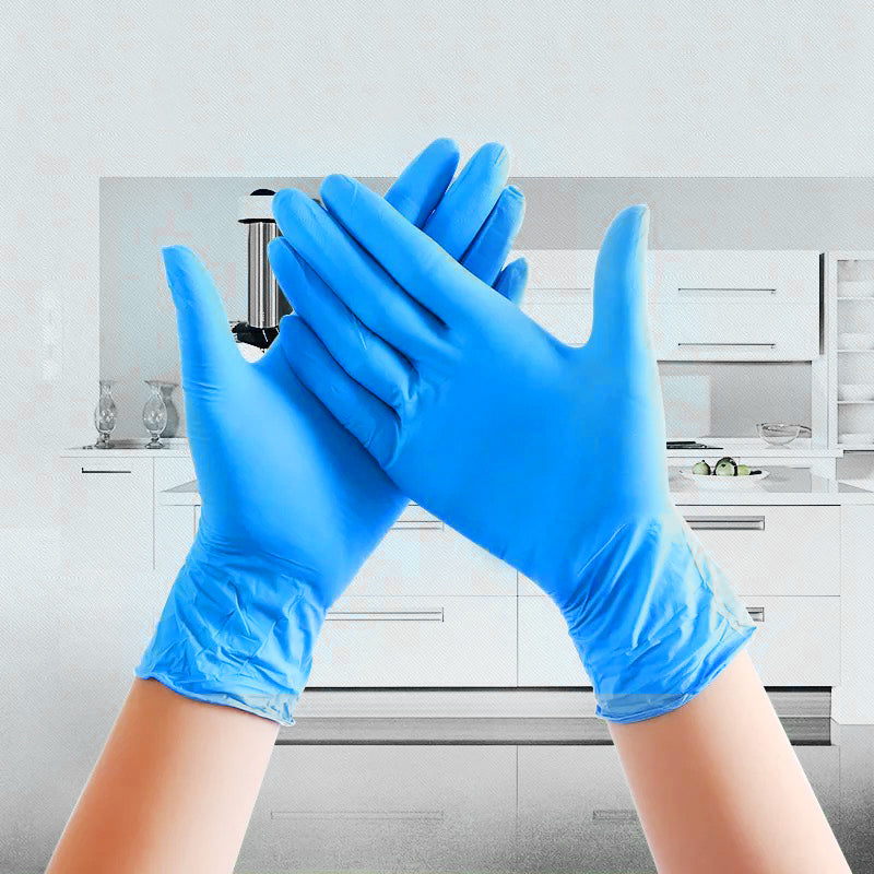 100PCS/Set Blue Medical Gloves Latex Gloves Waterproof Nitrile Gloves Disposable Glove Rubber Gloves Kitchen Cooking Gloves Cleaning Gloves - JustgreenBox