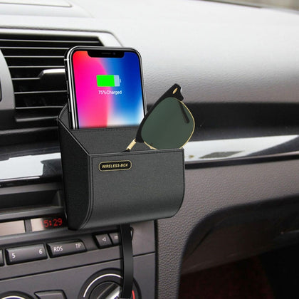 Wireless QI Car charger box fast phone Charging pad stand air vent phone holder car storage box - JustgreenBox