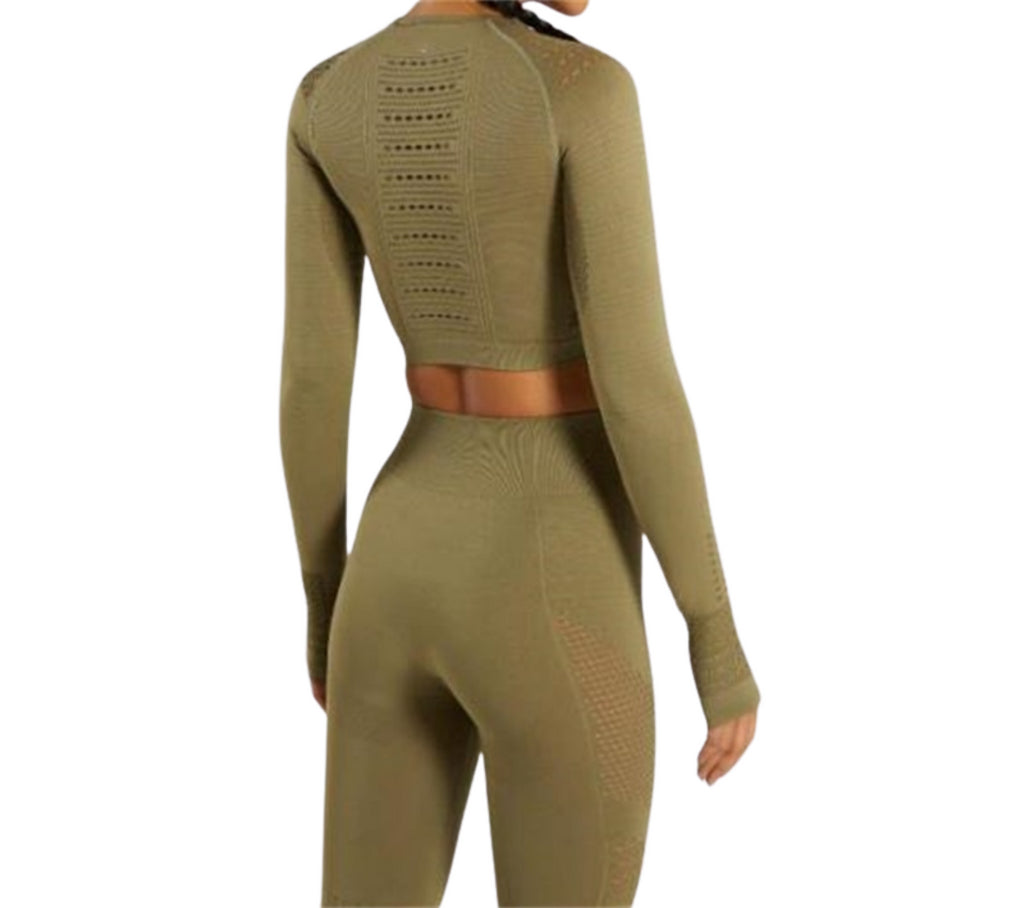 Women Seamless Gym High Waist Mesh Leggings Long Sleeve Shirts Fitness Thin Sport Suit Sets