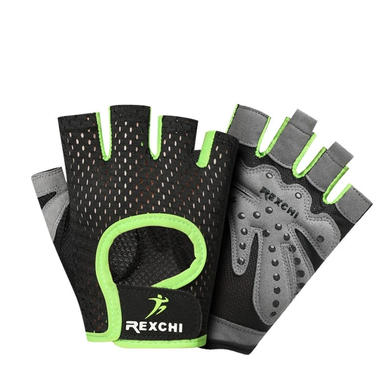 Professional Gym Fitness Gloves Power Weight Lifting Women Men Crossfit Workout Bodybuilding Half Finger Hand Protector - JustgreenBox